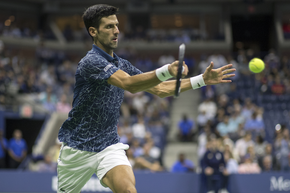 Novak Djokovic in the semi-final of the US Open, New York 2018