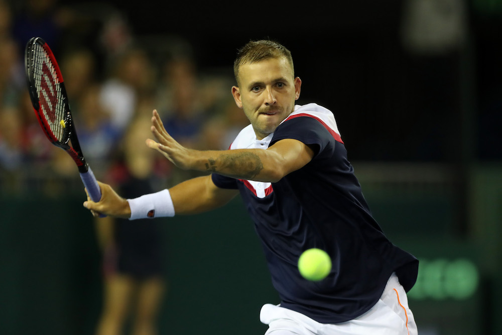 Dan Evans in the Davis Cup World Group Play-off between Great Britain and Uzbekistan, 2018