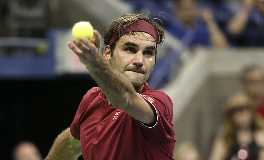 Roger Federer in the fourth round of the US Open, New York 2018