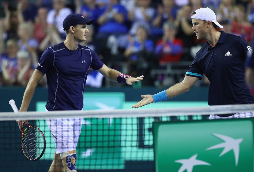 Jamie Murray (l) and Dominic Inglot (r) in the Davis Cup World Group Play-off between Great Britain and Uzbekistan, Glasgow 2018