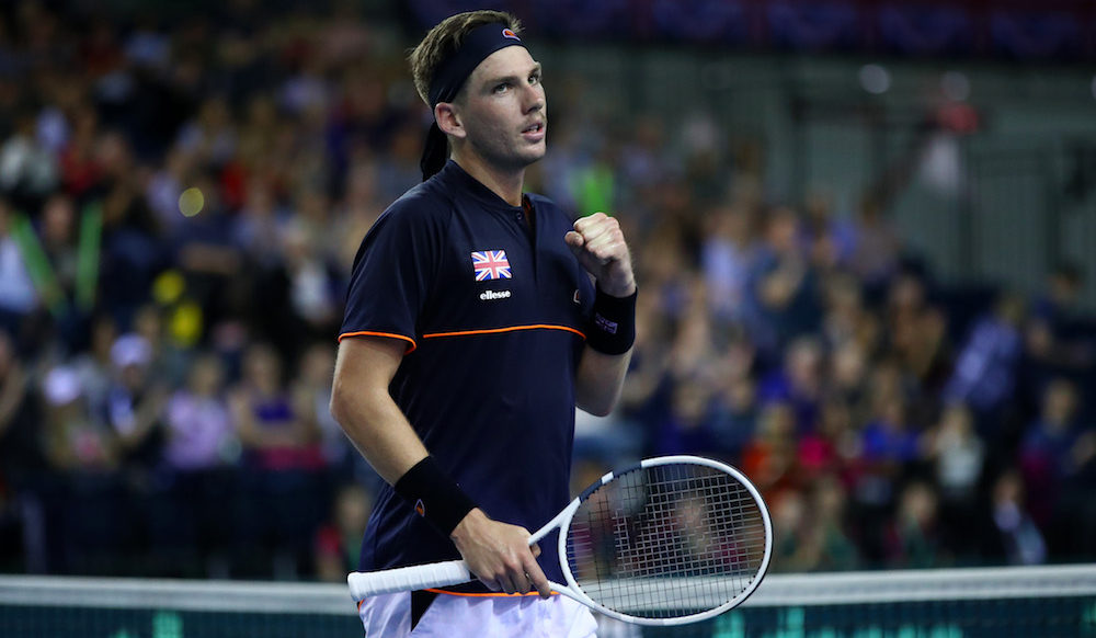 Cameron Norrie in the Davis Cup World Group Play-off between Great Britain & Uzbekistan, Glasgow 2018