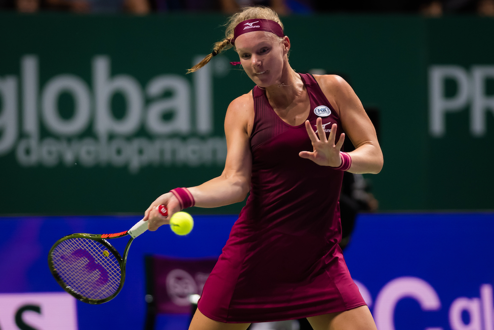 Kiki Bertens in the second round-robin match of the WTA Finals 2018, Singapore