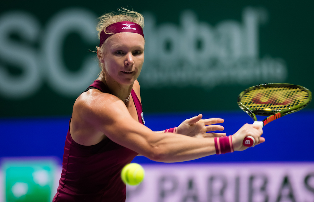 Kiki Bertens in the first round robin match at the WTA Finals 2018, Singapore