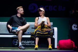 Andrew Bettles & Elina Svitolina in the first round robin match of the WTA Finals 2018, Singapore