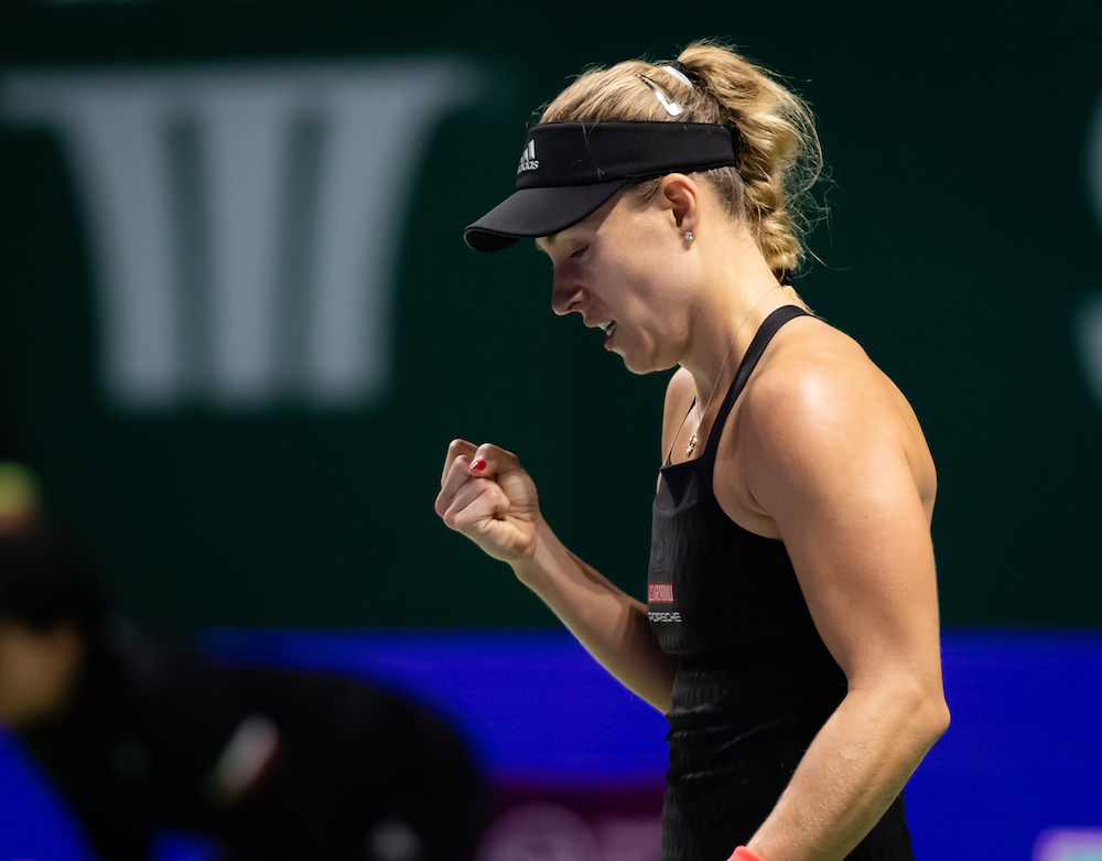 Angelique Kerber in the second round robin match at the WTA Finals 2018, Singapore