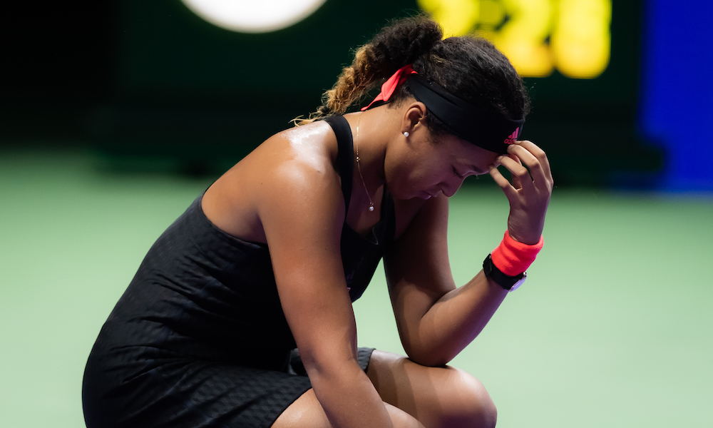 Naomi Osaka in the second round robin match of the WTA Finals 2018, Singapore