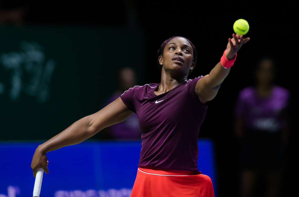 Sloane Stephens in the first round-robin match at the WTA Finals 2018, Singapore