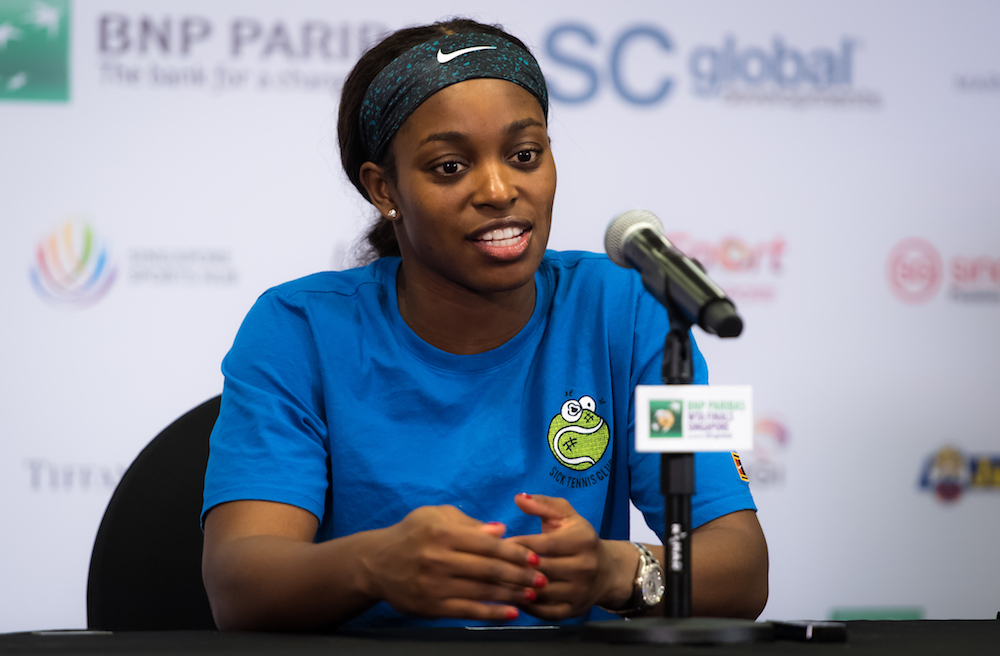 Sloane Stephens after the third round-robin match at the WTA Finals 2018, Singapore