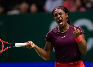 Sloane Stephens in the semi-final of the WTA Finals 2018, Singapore