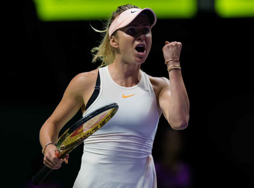 Elina Svitolina in the Round 1 of the group stages of the WTA Finals, Singapore 2018