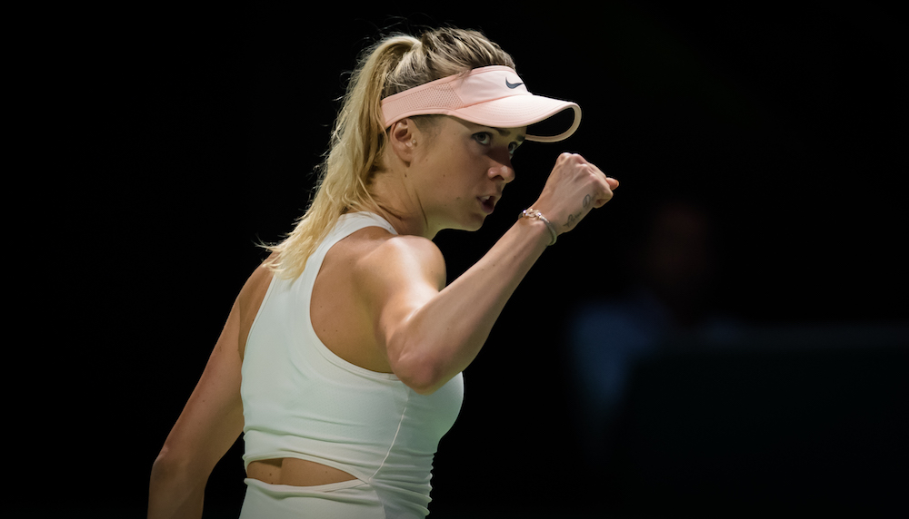 Elina Svitolina in the first round robin match at the WTA Finals 2018, Singapore