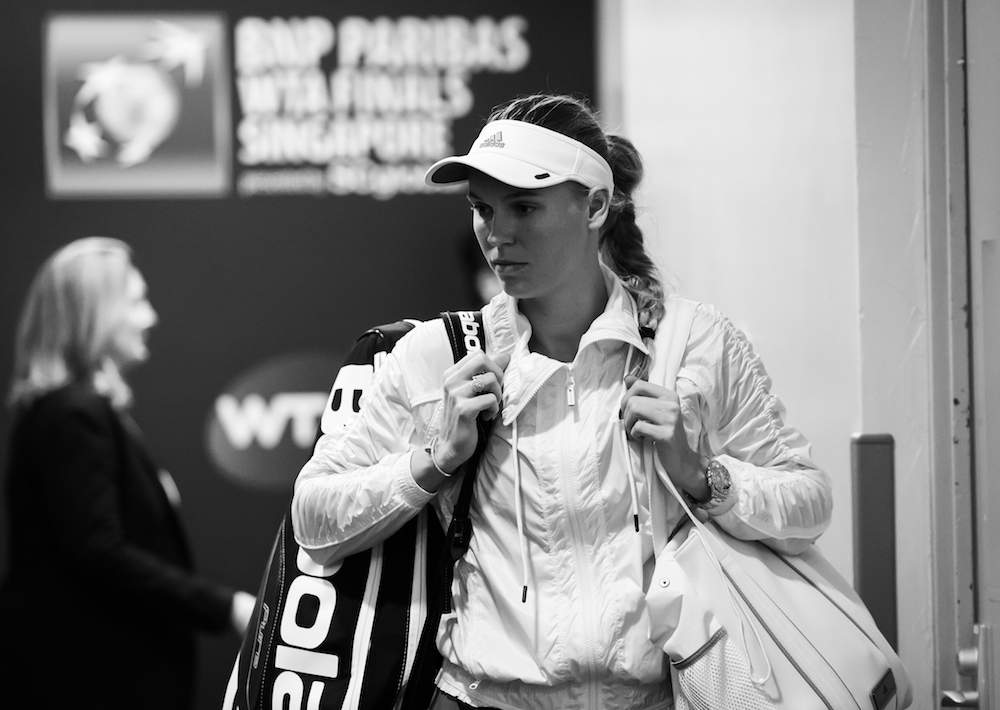 Caroline Wozniacki ahead of the third round robin match at the WTA Finals 2018, Singapore