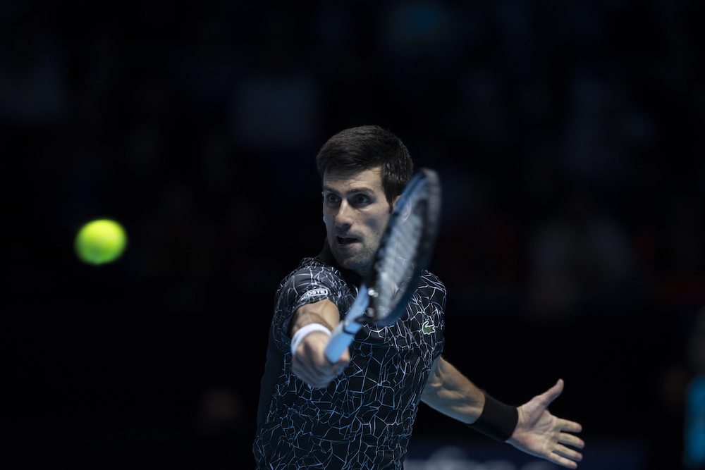 Novak Djokovic in the the first round-robin match of the ATP World Tour Finals 2018, London
