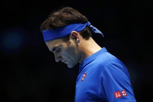 Roger Federer in the first round robin match at the ATP World Tour Finals 2018, London