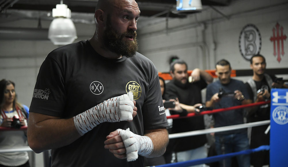 Tyson Fury works out ahead of the WBC Heavyweight World Championship against Deontay Wilder, Los Angeles 2018