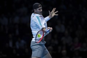 John Isner in the first round robin match of the ATP World Tour Finals 2018, London