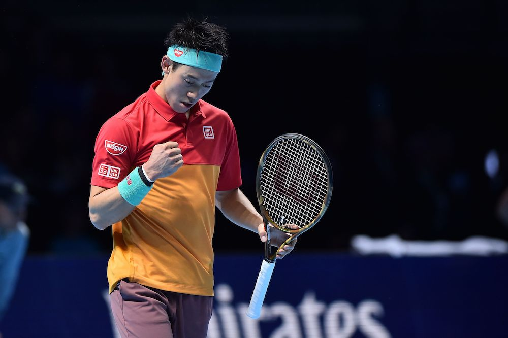 Kei Nishikori in the first round-robin match of the ATP World Tour Finals 2018, London
