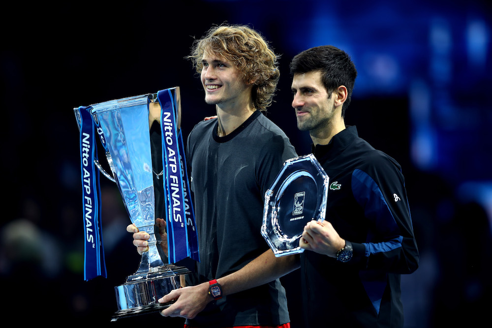 Alexander Zverev & Novak Djokovic after the final of the Nitto ATP Finals 2018, London