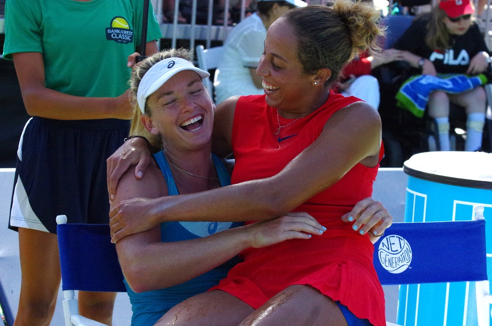 Madison Keys & Coco Vandeweghe share a laugh after Keys wins WTA Stanford Bank of the West Classic