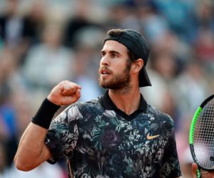 Karen Khachanov in the fourth round of Roland Garros 2019, France