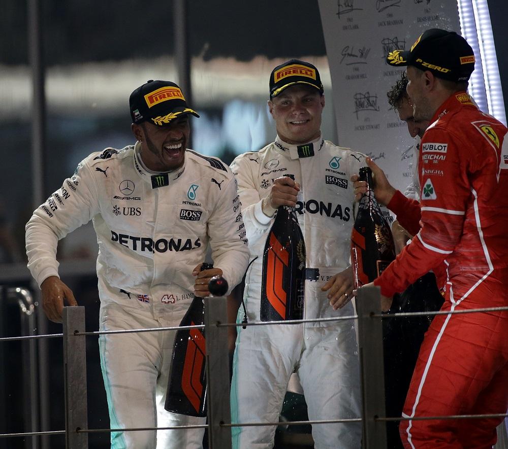 Lewis Hamilton, Valtteri Bottas, Sebastian Vettel at the Abu Dhabi Formula 1 Grand Prix, 2017