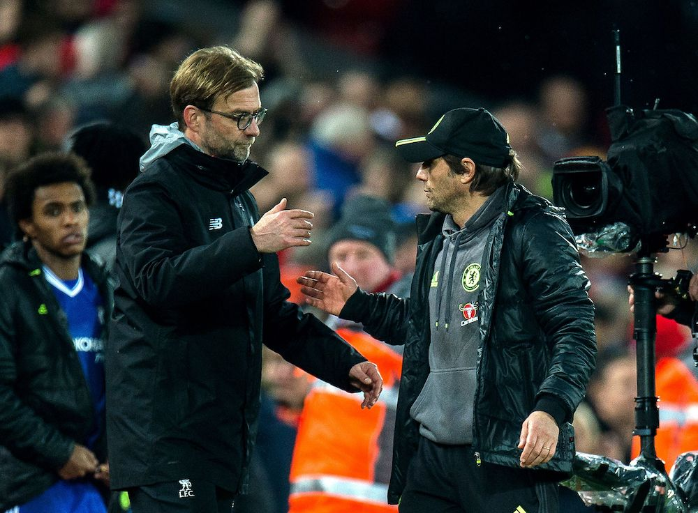 iverpool Manager Jürgen Klopp (L) and Chelsea manager Antonio Conte (R), Premier League 2017