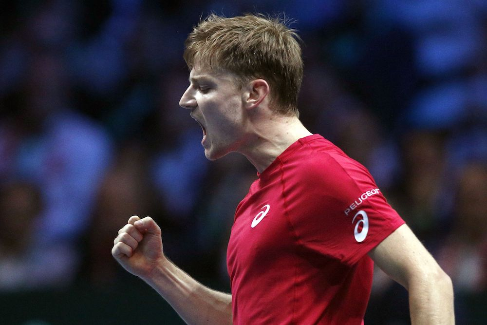 David Goffin in the Davis Cup final between France and Belgium, 2017
