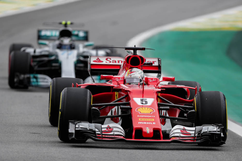 Sebastian Vettel (Scuderia Ferrari) and Valtteri Bottas (Mercedes AMG GP) Formula One Grand Prix of Brazil, Sao Paulo - 11 Nov 2017