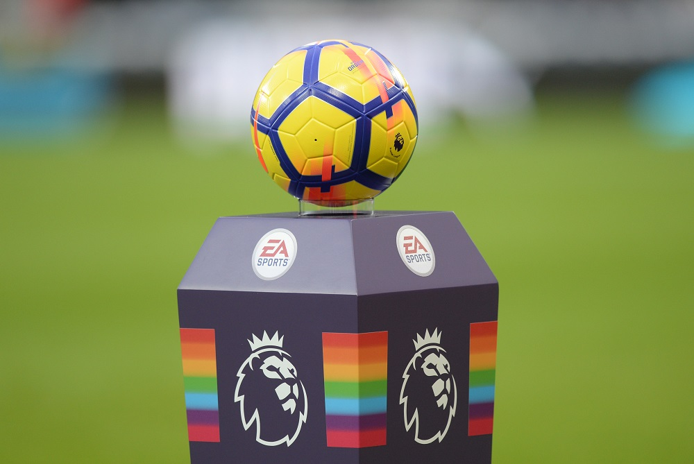 Premier League match ball on a rainbow plinth, 2017