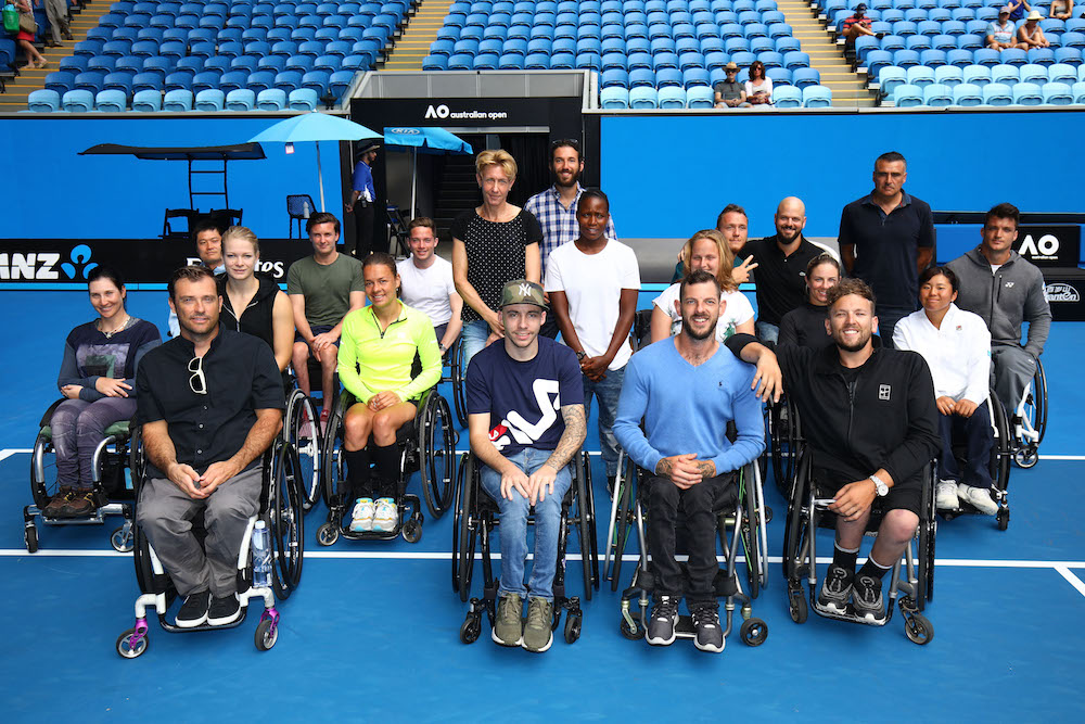 Australian Open Wheelchair competitors at the Wheelchair Championships official draw, 2018