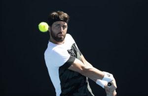 Nikoloz Basilashvili in the third round of the Australian Open 2018