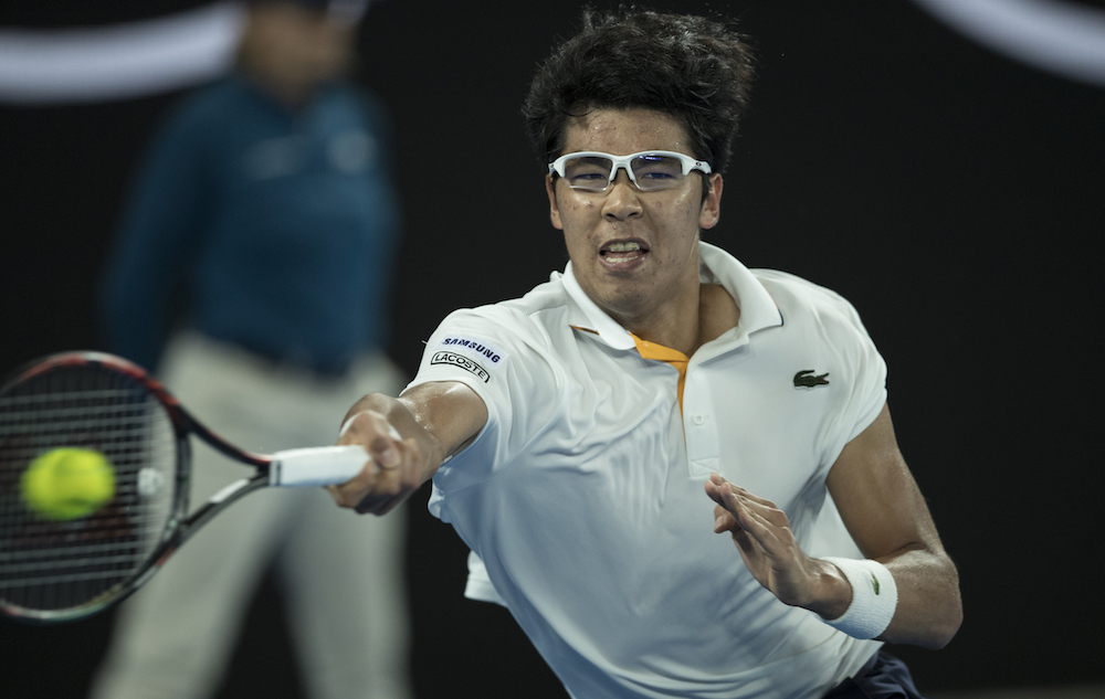 Hyeon Chung in the fourth round of the Australian Open, 2018