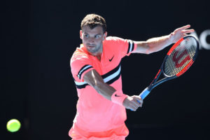 Grigor Dimitrov in the first round of the Australian Open 2018