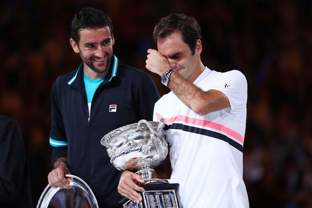 Marin Cilic and Roger Federer at the trophy presentation of the Australian Open final, 2018