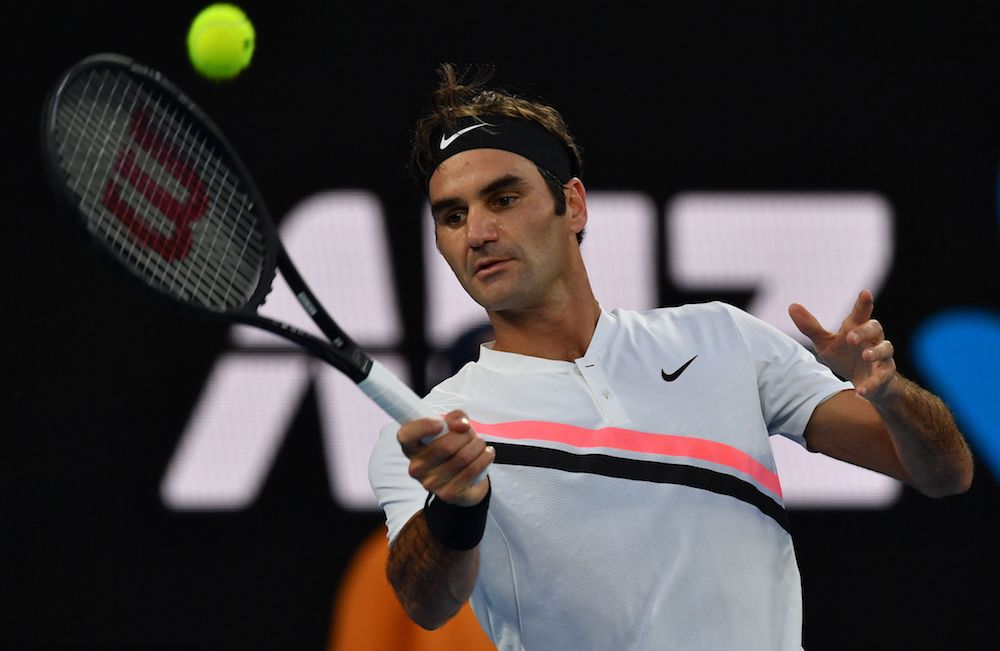 Roger Federer in the quarter-final of the Australian Open, 2018