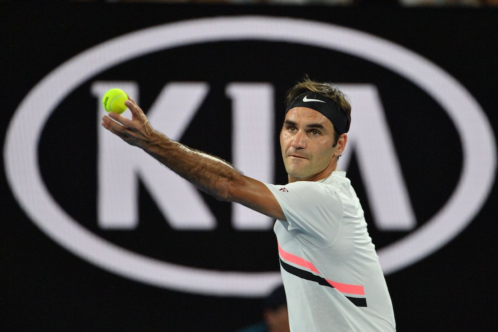 Roger Federer in the second round of the Australian Open, 2018