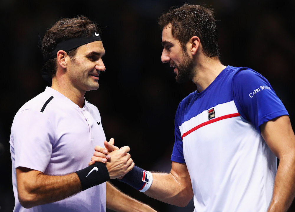Roger Federer and Marin Cilic at the Nitto ATP World Tour Finals, London 2017
