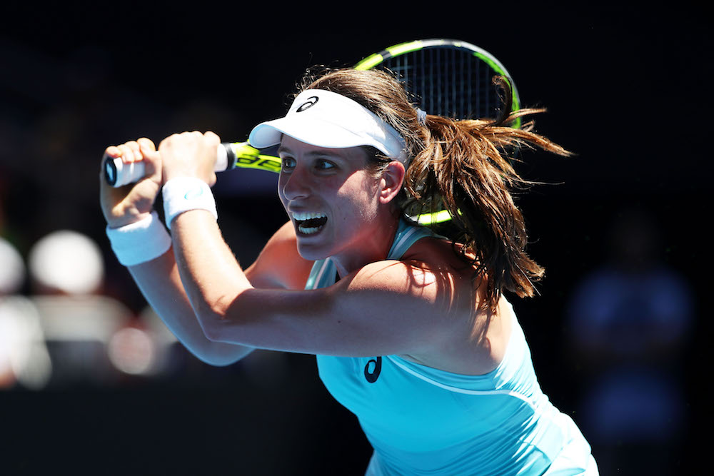 Johanna Konta in R1 of the Australian Open 2018