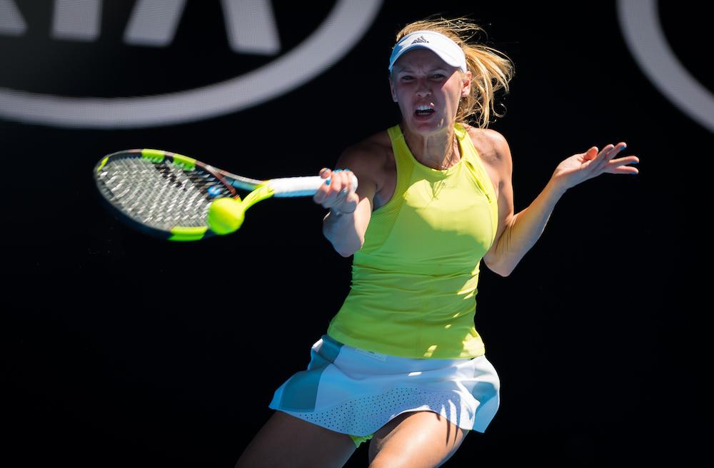 Caroline Wozniacki in action at the Australian Open, 2018