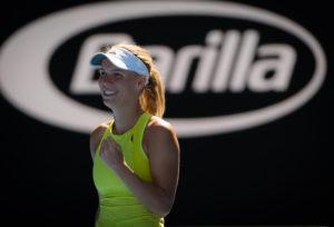Caroline Wozniacki in the second round of the Australian Open, 2018