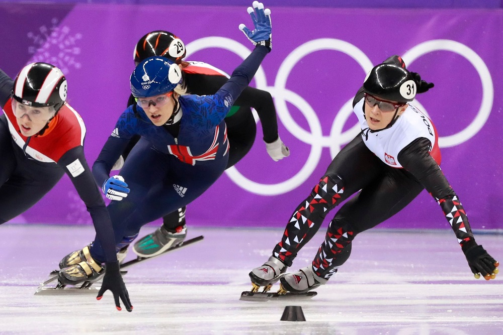Elise Christie of GBR in the Short-Track Speedskating 1000m, Winter Olympics PyeongChang 2018