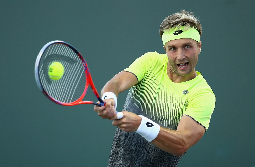 Liam Broady in the first round of the Miami Open, ATP Miami 2018