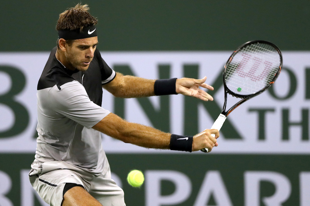 Juan Martin Del Potro in the fourth round of the BNP Paribas Open, ATP Indian Wells 2018