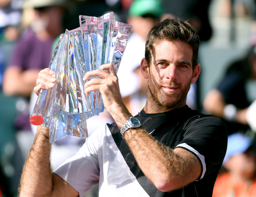 Juan Martin Del Potro with the BNP Paribas Open Trophy, ATP Indian Wells 2018
