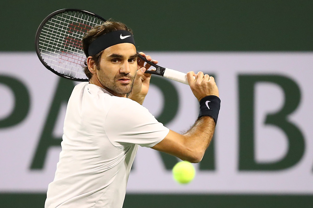 Roger Fededer in the quarter-final of the BNP Paribas Open, ATP Indian Wells 2018