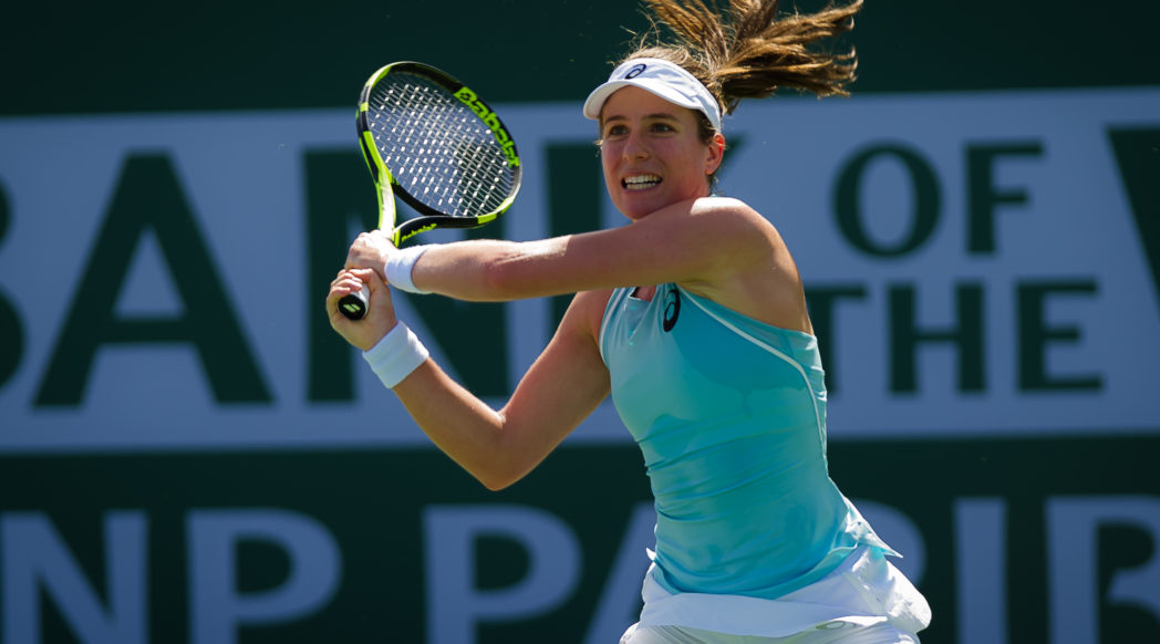Johanna Konta in the second round of the BNP Paribas Open, WTA Indian Wells 2018