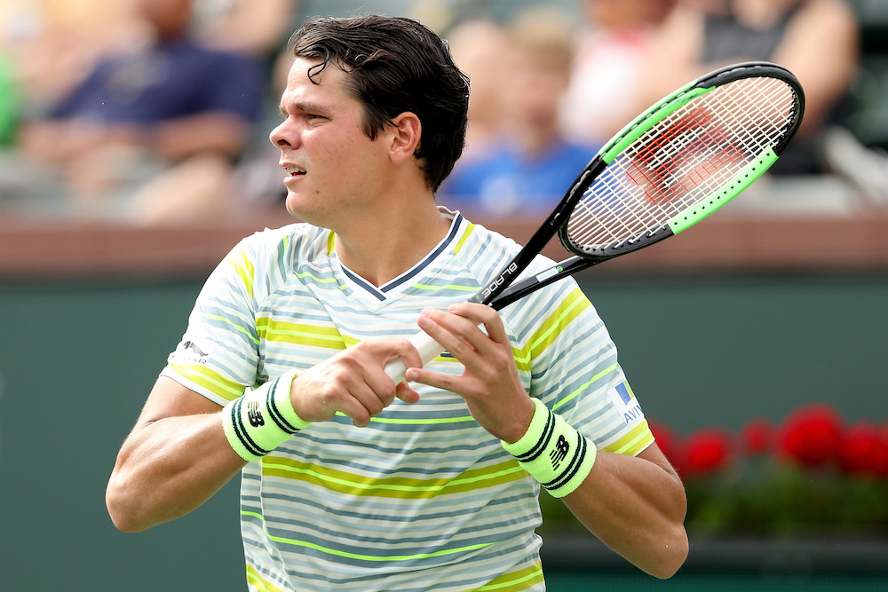Milos Raonic in the third round of the BNP Paribas Open, ATP Indian Wells