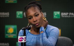 Venus Williams talks to the press at the BNP Paribas Open, WTA Indian Wells 2018
