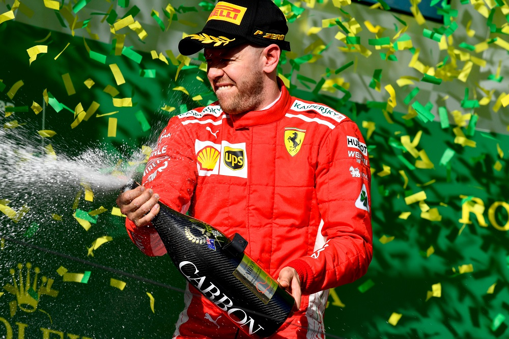 Sebastian Vettel after winning the Australian Grand Prix 2018