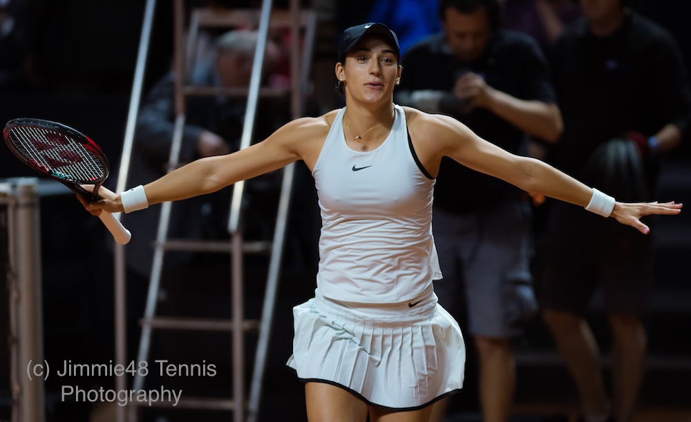 caroline Garcia after her quarter-final at the Porsche Tennis Grand Prix, WTA Stuttgart 2018